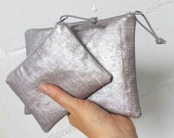 Medium silver oilcloth zipper pouch - oilcloth makeup bag - cosmetic case -  metallic silver pouch - medium zip pouch - oilcloth accessories