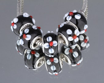 Set of 5 Black w/ White Raised Lampwork Flowers Murano Glass Charm Beads Sterling Silver European Style Bracelet Jewelry (ID EU2-10)