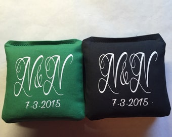 8 Initial and Date Wedding, Engagement, Shower, Anniversary Cornhole Bags (8 per set)