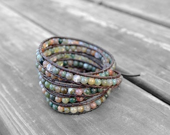 Leather Agate Bracelet Agate Wrap Bracelet Beaded Bracelet Leather Wrap Bracelet 4mm Beaded Bracelet Wedding Bracelet Bridesmaid Bracelet