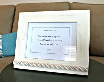 ELLORA COLLECTION - Hand painted distressed, off-white wood picture frame, cream rope trim. 5 inches by 7 inches, 5x7. Beach house decor.