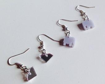 Sale | Elephant | Diamond | Animal | Safari | Cute | Earrings | Laser Cut | Acrylic | Set | 2 Pack