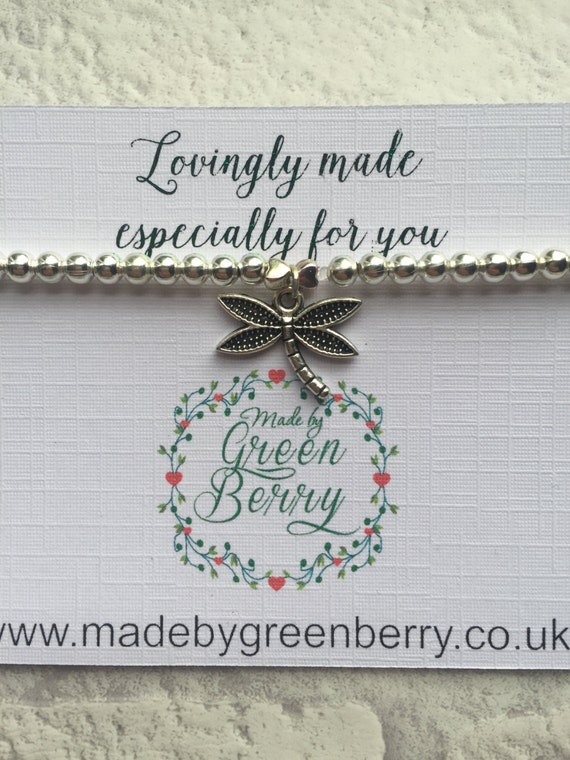 NEW** madebygreenberry Beaded Bracelet complete with dragonfly charm - made to order