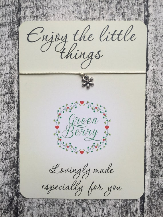 "Daisy charm String Bracelet on ""Enjoy the little things"" quote card madebygreenberry wish bracelet"