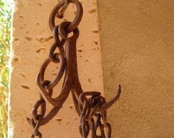 Old Iron Well Hook with original chain and fittings