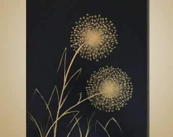 Black And Gold Art Abstract Painting Original Painting Dandelion Flower Painting on Canvas Modern Art Contemporary Painting