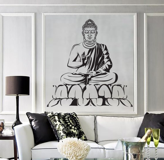 Zen Bedroom Wall Decor : Wall vinyl decal buddha yoga meditation relaxation zen bedroom