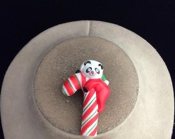 Vintage Koala Bear On A Candy Cane Christmas Pin