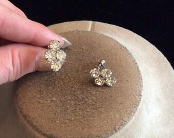 Vintage Clear Rhinestone Screw Back Earrings