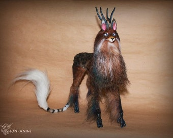 Mythical beast between a deer and a wolf, soft toy, toys handmade
