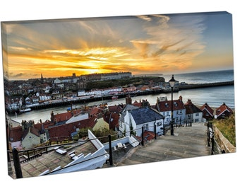 199 steps Whitby Church Stairs Harbor Print on canvas XT2617
