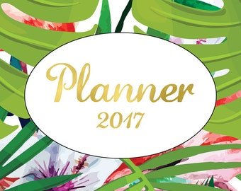 Happy Planner Cover, Instant Download,Tropical Leaf Print,Green,Erin Condren,Planner Cover, MAMBI Planner Cover,Gold Foil,2017,Happy Planner