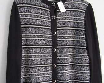 Vintage St. John Knits Black and White Striped Cardigan Size 8 New with Tags