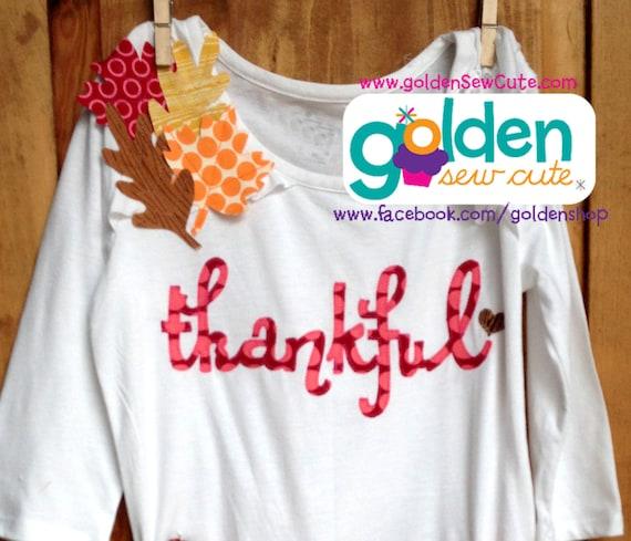 Thanksgiving Thankful Fall Leaves Girl Tee, Dress, Tutu, Onesie, Shirt