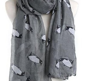 Scarf with Penguin Print