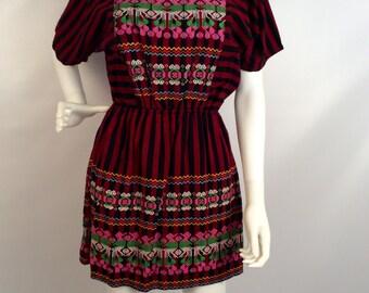 Vintage Mexican dress, black red dress, black Mexican inspired, multi colored dress, short sleeved vintage dress