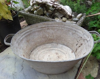 "Tin bath, Rustic 1940's Galvanised Tin Bath, Ideal Garden Planter, Drinks Cooler or for Dogs, 18.5"" x 14"" x 8.5"""
