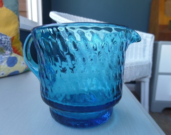 """Teal Blue Glass Wide Brimmed Jug or Creamer, Mid Century Twisted Bubble Effect Pressed Glass, Ideal for the Breakfast Table, 4"""" x 4"""","""