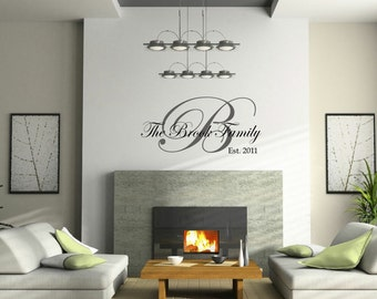 Family Established Wall Decall // Vinyl Wall Name Decal // Personalized Family Wall Decal // Monogram Family // Wall Sticker