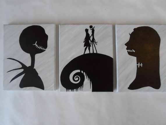 Nightmare Before Christmas Painted Canvas Wall Hangings / Wall