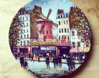 "LE MOULIN ROUGE Vintage Limited Edition ""Sights of Paris"" Plate by Louis Dali"