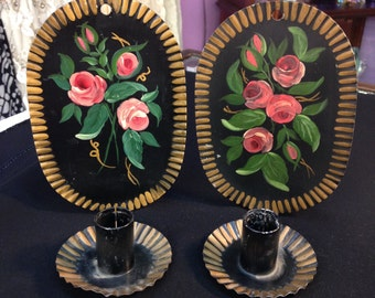 Black Tin Tole Painted Folk Art Candle Wall Sconces, set of 2