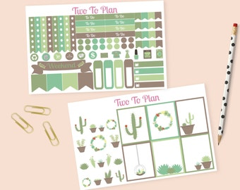 Succulent Decorative Small Weekly Kit! Planner Stickers Perfect for the Erin Condren Vertical Life Planner! Cacti, Cactus, Terrarium
