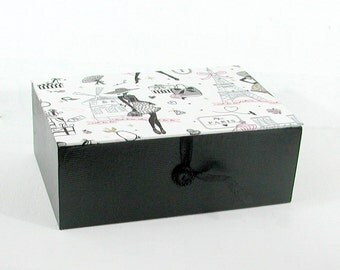 "BOX SCARVES - ""la Parisienne"" - black and pink"