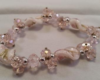 Pink Swarvoski Crystal Bracelet, Lampwork Bracelet with Swarvoski Crystals