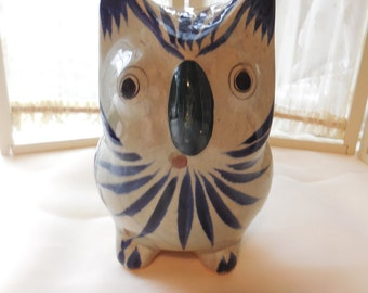 Large Mexican Pottery Owl Figurine, Large Mexican Pottery Bird Figurine, Large Owl Figurine