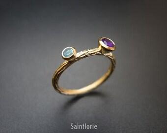 Citrine & Aquamarine Band