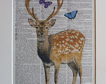 Deer Print No.247, red deer, deer art, deer poster, deer head, deer antler, butterflies, girlfriend gift, boyfriend gift, dorm room