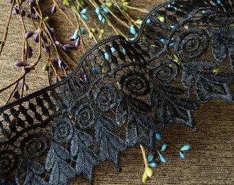 Black Lace Trim, Embroidered Trim, Indian Fabric Trim, Lace Trim, Indian Ribbon, Black Lace Embellishment