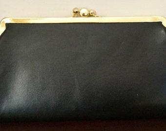 Black Clutch Bag - Black Leather Clutch - Vintage Clutch