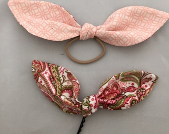 Handmade fabric hair bow tie Floral & Gentle pink combo!