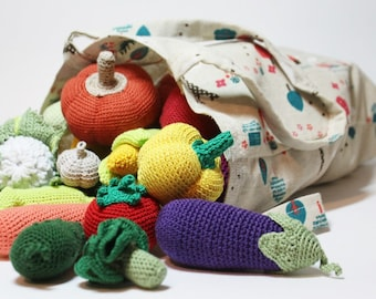 Crochet play food set (20 pcs) Crochet vegetables and fruits Ready to ship Montessori toys for toddlers Kitchen decor Toy veggies