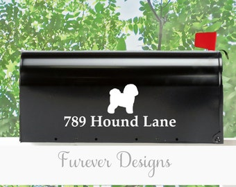 bichon frise mailbox vinyl decal set of 2 includes design and street address - Frise Vinyle