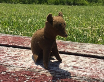 100% Wool Felt Stuffed Bear Cub