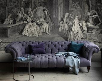 "Vintage Wall Mural, Drawing Wallpaper, Vintage wallpaper - 141.73"" x 98.43"" (360 x 250cm)"