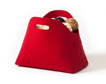 Felt storage basket,  felt bin, felt firewood basket, felt magazine holder, felt firewood bin,  red basket, red bin, natural wool felt