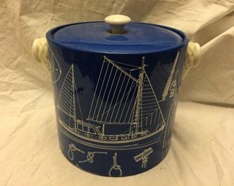 Vintage retro Georges Briard Ice bucket Nautical Sailing Blue