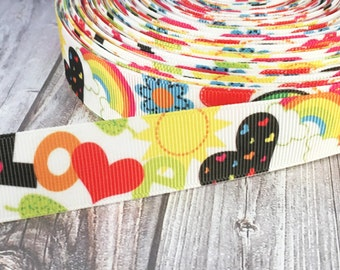 "Hippie ribbon - 7/8"" Grosgrain ribbon - Peace love ribbon - Free love ribbon - 70's style ribbon - Funky crafts - Funky ribbon"