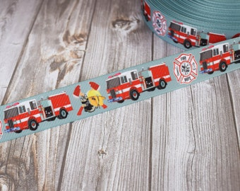 "Firefighter ribbon - Hero grosgrain ribbon - 3 or 5 yard lot - 7/8"" ribbon by the yard - Fireman craft supplies - Fire truck ribbon"