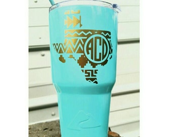 """Monogrammed Personalized Name Vinyl decal *You Pick Color* for Yeti Rtic Ozark Orca Cup Decal, cooler decal 3.5""""x3.5"""" Texas Aztec"""