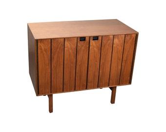 Mid Century Modern Double Door Cabinet Figured Walnut w Ebony