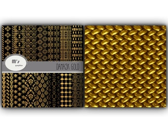Digital Paper Pack Backgrounds Damask Gold and Black Background. 14 digital papers for background, scrapbook, printing on paper or fabric