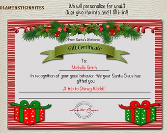 Christmas Gift Certificate, Christmas Trip Gift Certificate, Garland, Instant Download, Stocking Stuffer, Santa's Nice List, North Pole, DIY