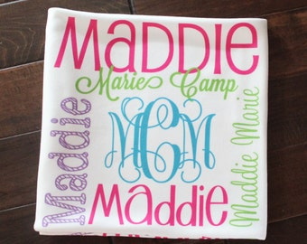 Monogram Baby Blanket Personalized Baby Blanket Swaddle Receiving Blanket Baby Shower Gift