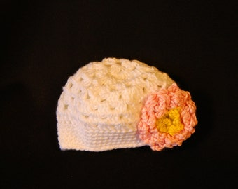 Crocheted Baby Beanie Hat  6- 12 months old