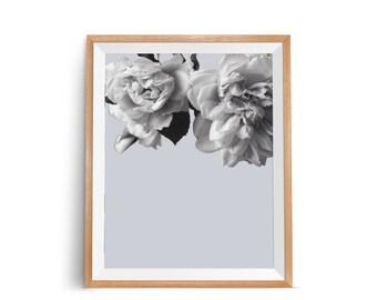 Flower Wall Poster, Modern Botanical Wall Print, Minimal Flower Wall Print, Plant Wall Art, Flower Art Print, Gray Wall Decor, Printable